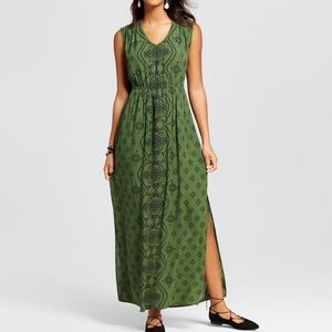 ✰ xhilaration women's green printed maxi dress ✰